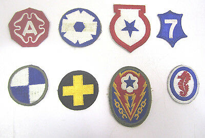Vintage WW2 Military Cloth Patch Lot Of (8) Army Air Corp Navy Marines  (E)