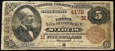 Series 1882 $5.00 National Currency, National Bank of Commerce, St. Louis, MO!