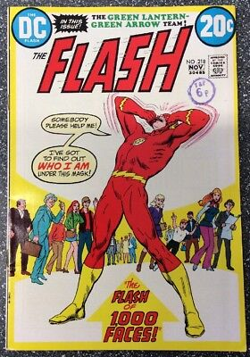 Flash #218 (1972) Bronze Age Issue Inc Green Lantern / Green Arrow Backup