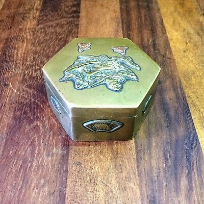 Antique JAPANESE Oriental Snuff Box VINTAGE  brass with Some Copper Decoration