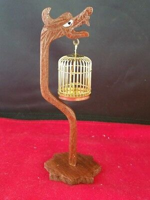 "Dollhouse Miniature Dragon Wood Carved Stand Hanging Brass Birdcage 5.5""H"
