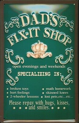 Dad's Fix-It Shop Embossed Vintage Retro Style Metal Sign Garage Shed Man Cave