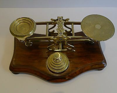 Antique English Walnut and Brass Postal / Letter Scales by Sampson Mordan c.1860