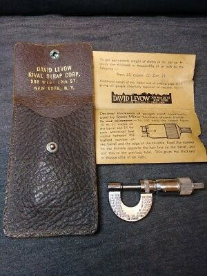 """Vintage David Levow Rival Strap Corp. MICROMETER , 0 - 1/2"""" , .001""""with Case."""