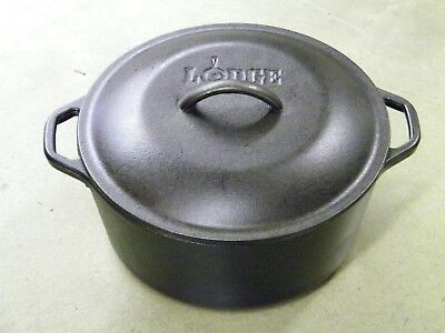 Cast Iron Dutch Oven #8 Unmarked Lodge DOL USA 10-1/4 with Self  Loop Handle
