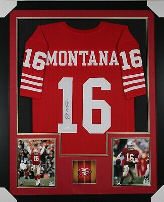 ee044ada6be JOE MONTANA AUTOGRAPHED and Framed Red 49ers Jersey Auto JSA COA (D1 ...
