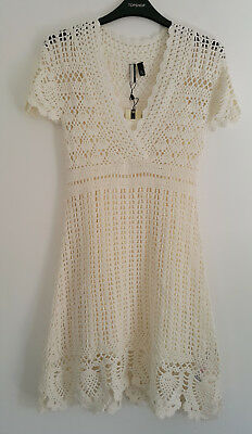 Topshop Hand Made Crochet Lace Natural White Dress Vintage S Small UK 8 BNWT