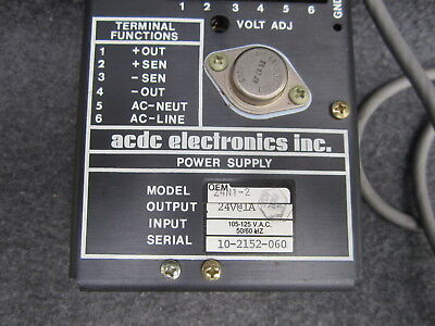 Vintage ACDC Electronics Inc. Power Supply Model 24N1-2 Input 105-125VAC 24V out