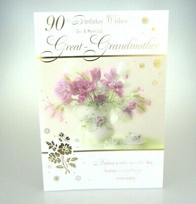 90th Birthday Wishes To A Special Great Grandmother Grandma 90 Card