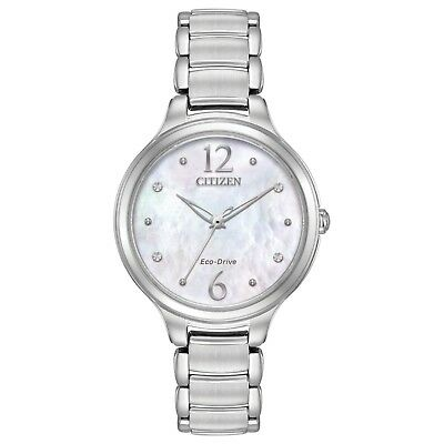 Citizen Eco-Drive L Women's EM0550-59D Crystal MOP Dial Silver-Tone 32mm Watch