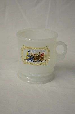 Vintage Avon White Milk Glass Iron Horse Train Shaving Mug Men's Grooming