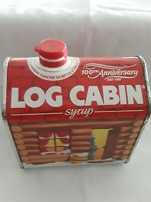 Vintage 1987 Log Cabin Syrup 100th Anniversary Advertising TIN