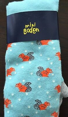 Mini Boden tights, fox pattern, Size 11 - 12 years, NWT