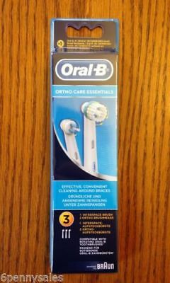 3 ORAL-B Ortho Braces Care Replacement Toothbrush Tooth Brush Heads Orthodontics