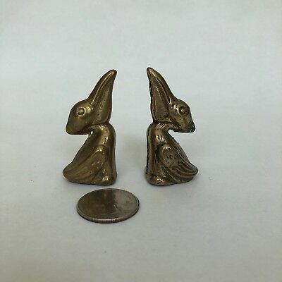 "Set Of 2, 2"" Solid Brass Mini Pelican Figurine Vintage"