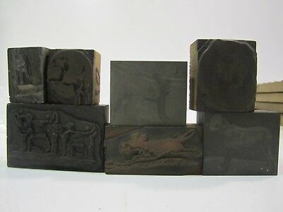 Lot of 7  Antique Metal Printer Blocks Featuring Assorted DOGS Lot J