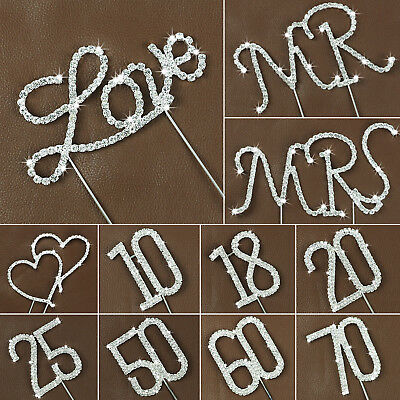Rhinestone Diamante Cake Pick Wedding Birthday Party Number Letter Topper Decor