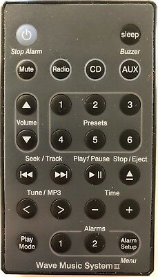 Replaced Bose Wave Radio/CD Music System III AWRCC2 AWRCC3 Remote in Black