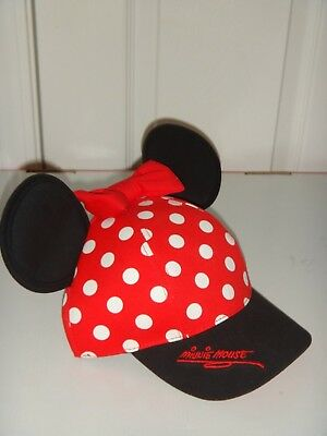DISNEY PARKS Disneyland Youth Girl's Minnie Mouse Ears Hat Red Bow Polka Dot Cap