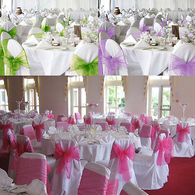 1 10 25 50 100 Organza Chair Seat Covers Sash Bow Wedding Birthday Wider Decors