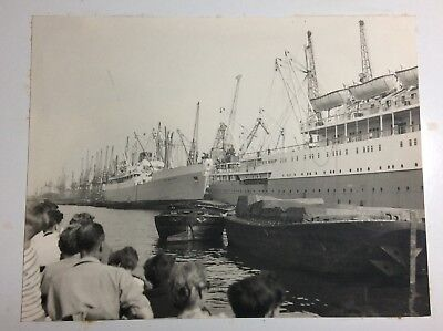 Photograph Ships on The Thames - The Works Outing 1960's B&W