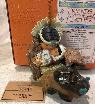 Rare Enesco Friends of the Feather Great Provider Mom Baby Indian Buffalo MIB
