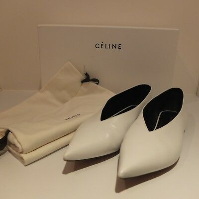 fbf37a8a73b CELINE Flat V Neck Essential Calfskin Optical White Flat Shoes Size 40 UK7