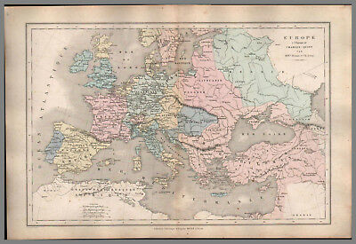 Carte Europe Charles Quint.Carte Map Ancienne Europe Guerres Empire 1861 Be Original Eur 19