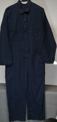 Vintage Roebucks Sears Coveralls Men's Sz 48-50 S Short Navy Blue L/S MADE USA