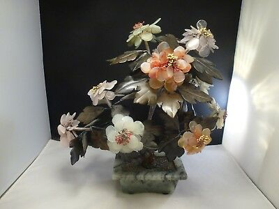 """Vtg Antique Chinese Carved Jade Hardstone Bonsai Tree    12 x 11"""" wide  approx"""