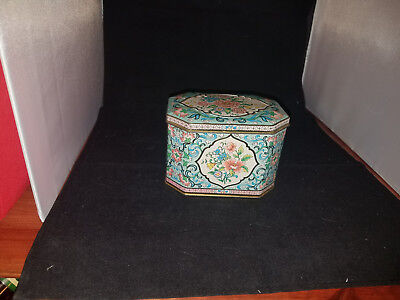Vintage Daher Flower Decorated Tin Box Container with Hinged Lid Made in England