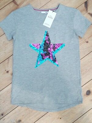 New Marks & Spencer Girls T-shirt Sequin Star Grey Top 10 to 11