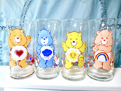 Set of 4 Care Bear Glasses / Tumblers 1983 Libby Glass Co. Pizza Hut