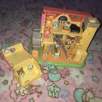 Epoch Hamtaro Dollhouse Playset Lot--Added Hamsters