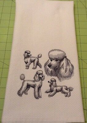 Poodle Collage Sketch Embroidered Wm Sonoma Kitchen Hand Towel