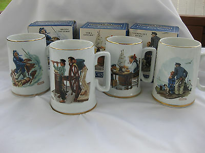 4 Norman Rockwell Seafarers Collection MUGS from Long John Silver 1985 (3 NIB)