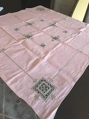 Vintage Pink Linen & Crochet Handmade Square Tablecloth Cutwork Never Used Mint