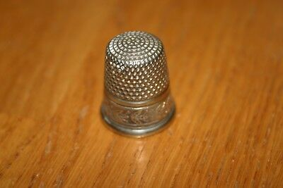 Beautiful Antique Vntg Sbc Sterling Silver Thimble Ornate Floral Design