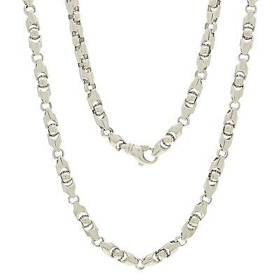 "Men's Solid 14K White Gold Heavy 22"" Bullet Style Chain Necklace 5.9mm 75 grams"