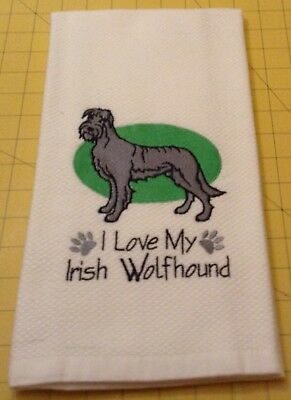 I Love My Irish Wolfhound! Embroidered Williams Sonoma Kitchen Towel