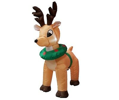 Christmas Air Blown LED Inflatable Yard Outdoor Decoration Reindeer Moose Wreath