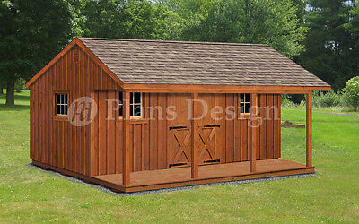 16 x 20 House or Garden Shed / Cabin Building Plans with Material List, #P51620