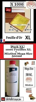 Pack XL 1000 Feuilles d'or 24K+Mixtion Méga Size 500 ml Gold Leaf paper sheets