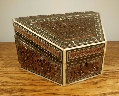 Super Anglo Indian Intricately Carved Victorian Stationery Box, Sadeli Decor
