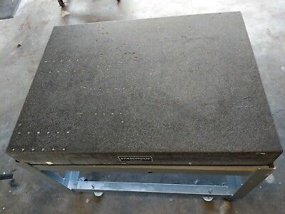 "Standridge Granite Surface Plate, Grade B, 36""x48"", with Rolling Metal Stand"