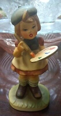 Napcoware Figurine Girl Artist with Paint Brush and Pallet