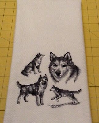 Siberian Husky Collage Sketch Embroidered Wm Sonoma Kitchen Hand Towel