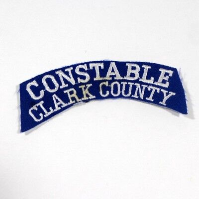 """Clark County Constable Twill Blue White Ribbon Tab Rocker Patch 3.5"""" x 1"""""""