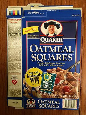 """1996 Vintage (Quaker) """"OATMEAL SQUARES"""" (Walking The World) Cereal Box, RARE!"""