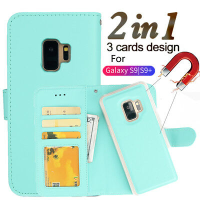 For Samsung Galaxy S9Plus Leather Magnetic Removable Card Slot Wallet Case Cover